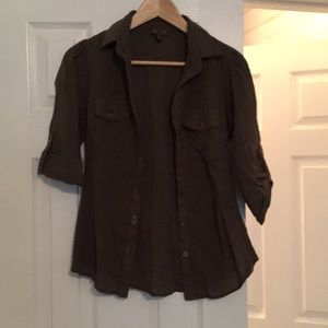 3/4 army green button up